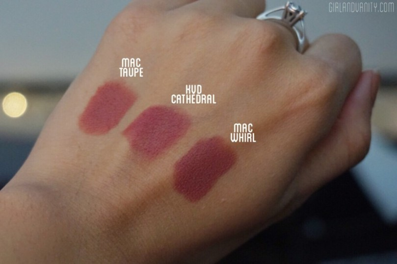 MAC Taupe vs. KVD Cathedral vs. MAC Whirl on medium tan NC40 skin