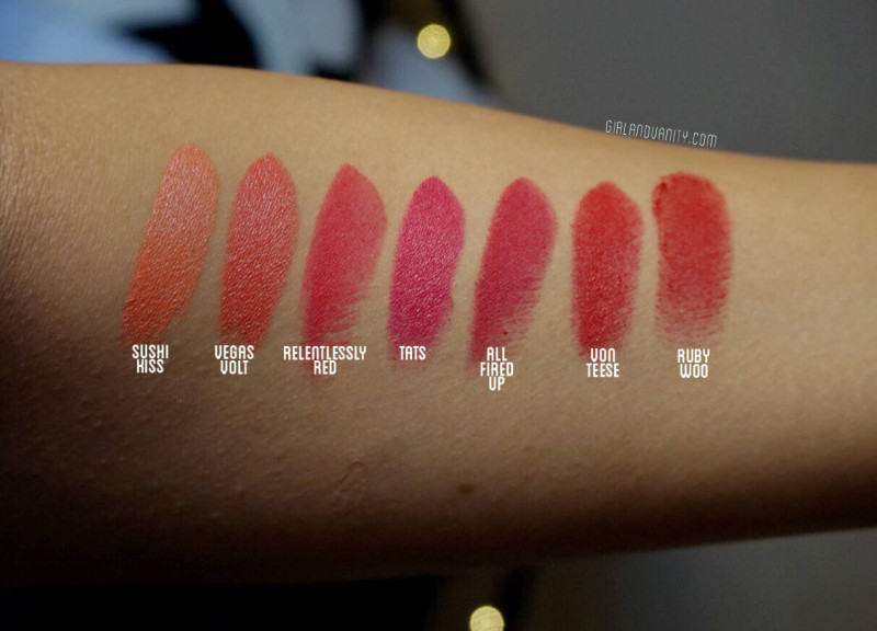 MAC vegas volt nc40 medium tan skin MAC sushi kiss nc40 medium tan skin MAC tats nc40 medium tan skin MAC relentless red nc40 medium tan skin MAC all fired up nc40 medium tan skin MAC von teese nc40 medium tan skin MAC ruby woo nc40 medium tan skin swatch