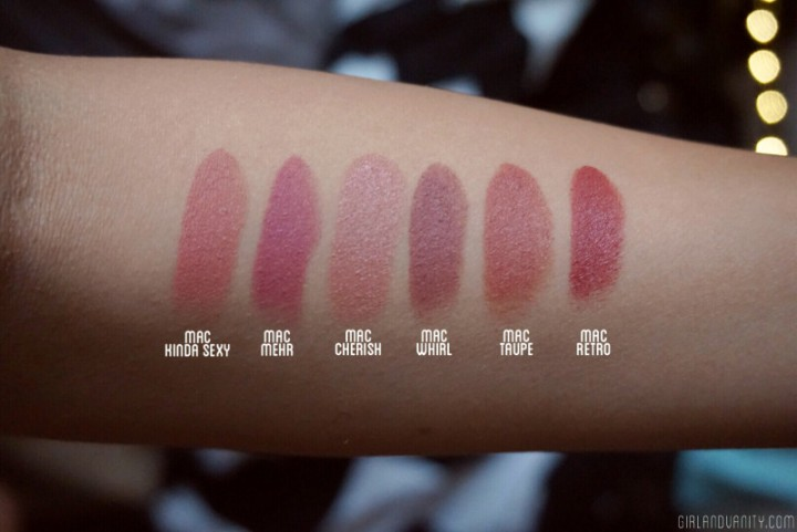 MAC Nude lipstick on tan skin NC40 NC42 swatch comparison Kiinda Sexy Mehr Cherish Taupe Whirl Retro