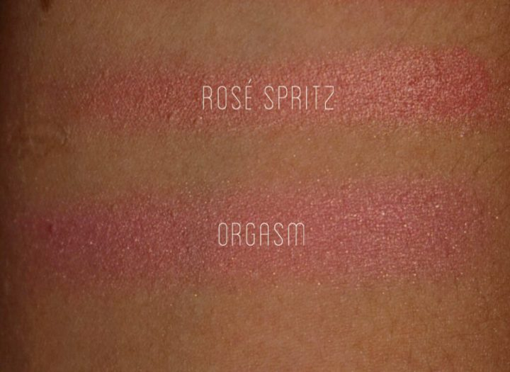Becca x Jaclyn Hill Rosé Spritz vs. NARS Orgasm nc40